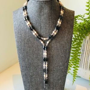 Hematite necklace with blush pearls and crystals
